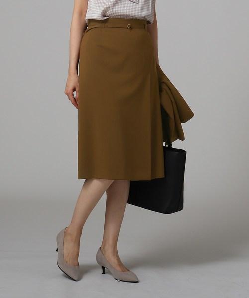 [L]【洗える】KWTタックストレートスカート