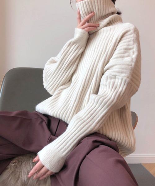 【chuclla】【2020/AW】Rib turtle knit sb-3 chw1356