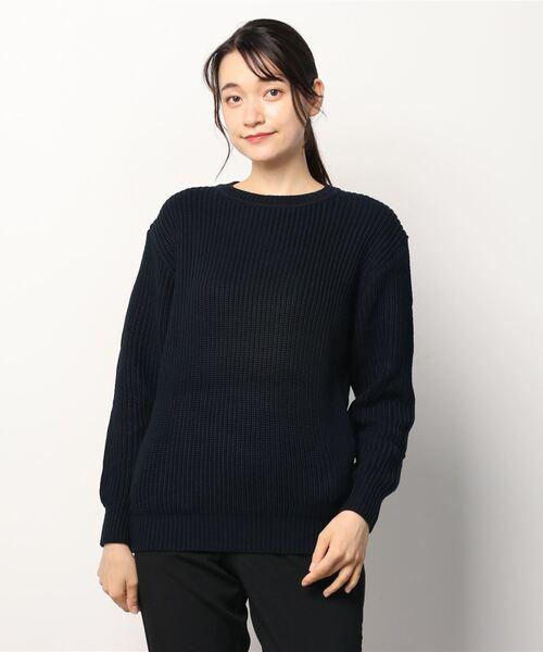 定番  クールネックセーター(ネイビー)(ニット/セーター) TODAY