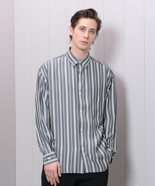 <H>STRIPE BALOON REGULAR COLLAR SHIRT/シャツ