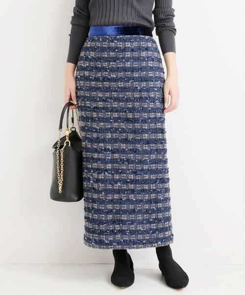 VERMEIL par iena(ヴェルメイユパーイエナ)の「LINTON ツイードスカート◆(スカート)」|ブルー系その他