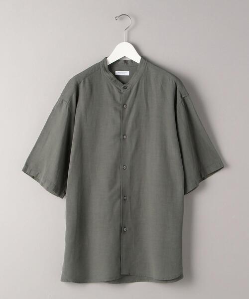 BY ドレープ バンドカラー シャツ