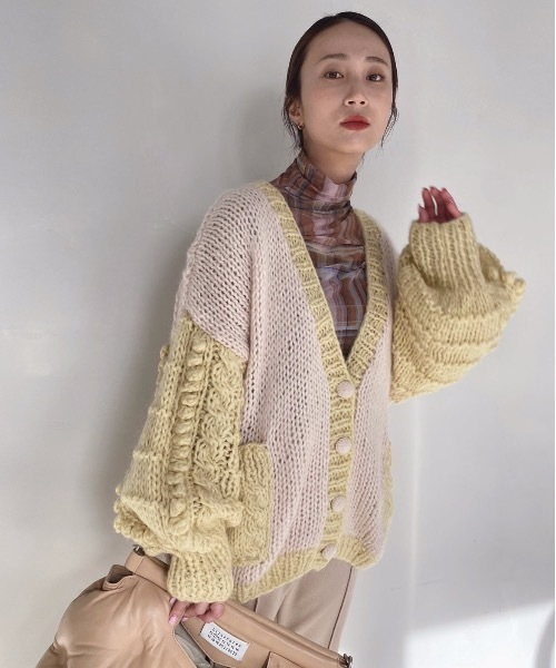【SANSeLF】 Se original bicolor knit cardigan sanw14