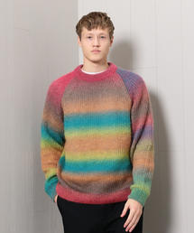<H>RAINBOW MOHAIR CREW NECK KNIT/ニット