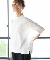 USAコットンハイネック5分袖Tシャツ