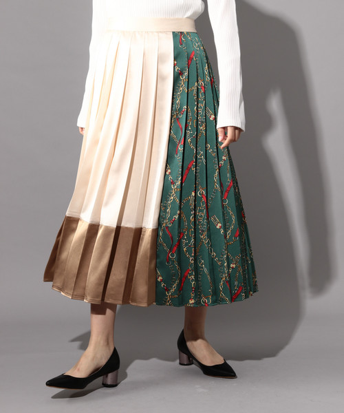 PAGEBOY(ページボーイ)の「スカーフ切り替えプリーツスカート(スカート)」|ホワイト系その他