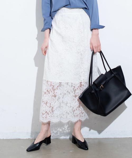 Aunt Marie's(アントマリーズ)の「AUNT MARIE'S  レースタイトロングスカート(スカート)」|ホワイト