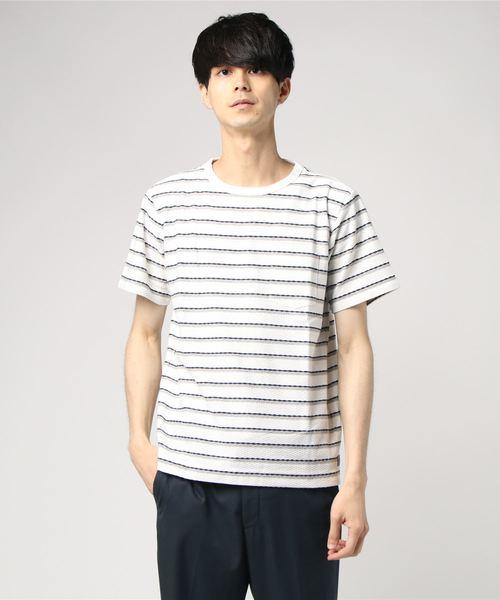 リップル加工ボーダー柄Tシャツ