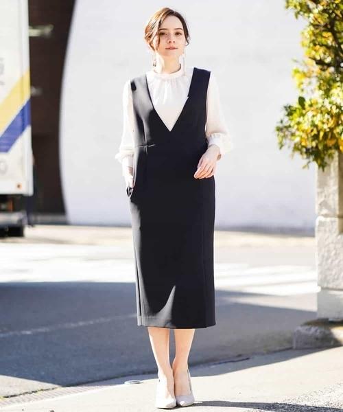 【洗える】ダブルクロス ジャンパースカート