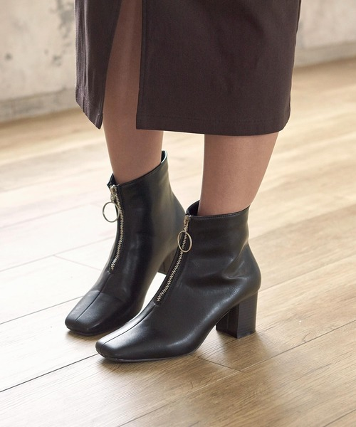 KOBE LETTUCE(コウベレタス)の「フロントジップスクエアトゥショートブーツ(ブーツ)」|ブラック