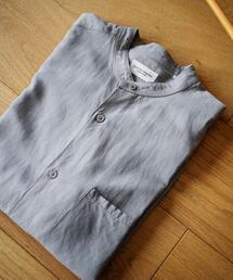 <UNITED ARROWS> ソリッド バンドカラー シャツ