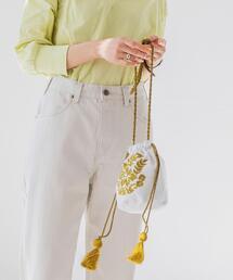 Market(マーケット)エスニックエンブロイダリ—タッセル巾着バッグ