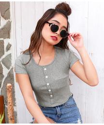 ANAP(アナップ)のボタン付きリブミニTシャツ(Tシャツ/カットソー)