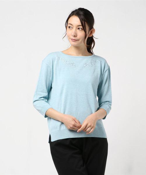 (税込) 【セール】【Mixing blue】コットンテンセル天竺 刺繍 ニットプルオーバー(ニット 刺繍/セーター)|Mixing blue(ミキシングブルー)のファッション通販, みやぎけん:31c5a2b4 --- kredo24.ru