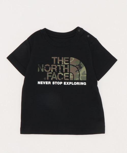 THE NORTH FACE(ザノースフェイス)の「NTB32092/camo logo Tシャツノースフェイス ロゴT(Tシャツ/カットソー)」|ブラック