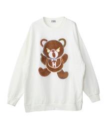 HYS BEAR刺繍 オーバーサイズスウェットホワイト