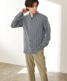 T/R ストレッチ バンドカラーシャツストライプ