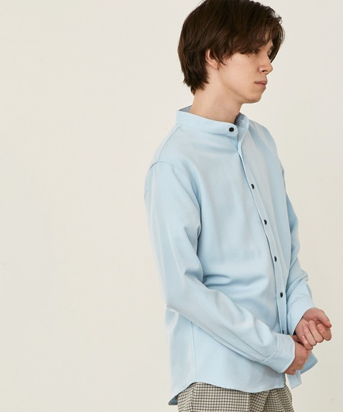 T/R ストレッチ バンドカラーシャツ