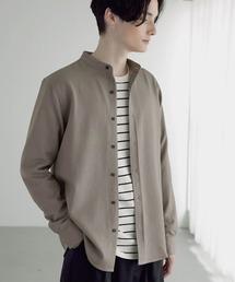 T/R ストレッチ バンドカラーシャツグレー