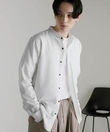 T/R ストレッチ バンドカラーシャツオフホワイト