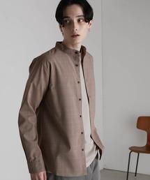 T/R ストレッチ バンドカラーシャツベージュ系その他4