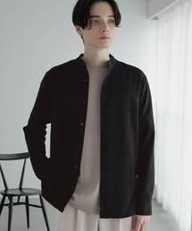 T/R ストレッチ バンドカラーシャツブラック