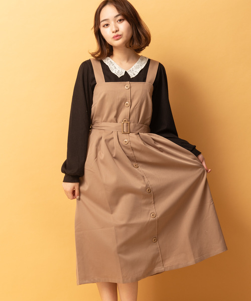トレンチ風ジャンパースカート