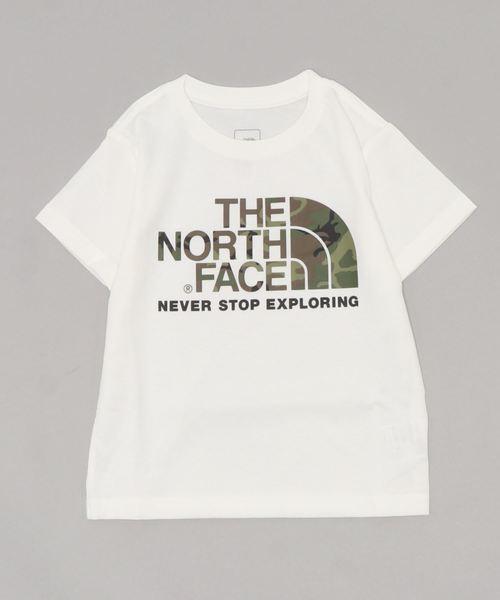 THE NORTH FACE(ザノースフェイス)の「THE NORTH FACE/ザ・ノースフェイス/T-shirt/ロゴTシャツcamo logo NTJ31992(Tシャツ/カットソー)」|ホワイト