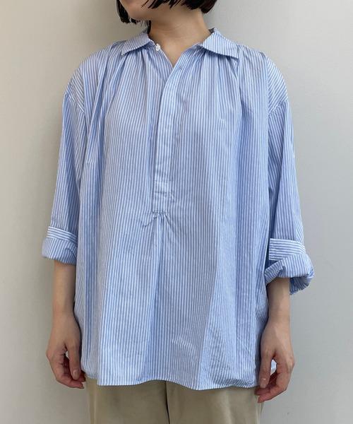 【ORCIVAL】ギャザープルオーバーシャツ BLUE WOMEN