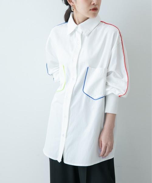 パイピングデザインシャツ