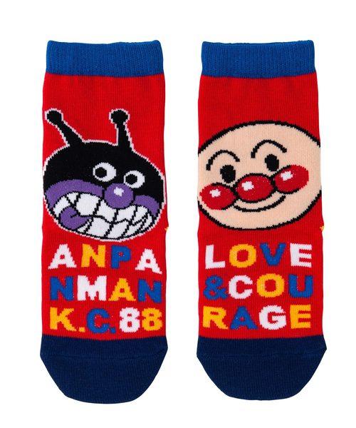 ANPANMAN KIDS COLLECTION(アンパンマンキッズコレクション)の「【アンパンマン】滑り止め加工 日本製ビッグフェイスAPBKソックス(ソックス/靴下)」 レッド