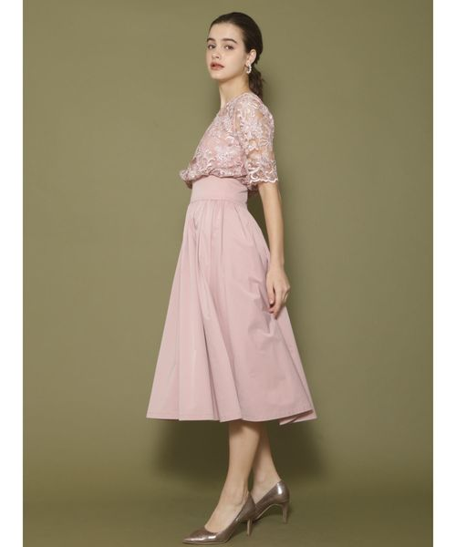 LAGUNAMOON(ラグナムーン)の「LADYオーバーレースギャザードレスSET(ドレス)」|ピンク