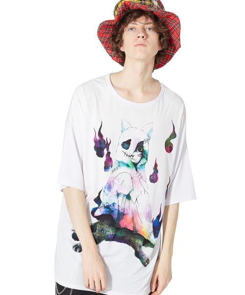 前後ホラーナイトオバケネコTシャツ -メガビッグ-