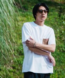 別注 [ チャムス ] CHUMS GLR カラー ポケット Tシャツ ポケT カットソー