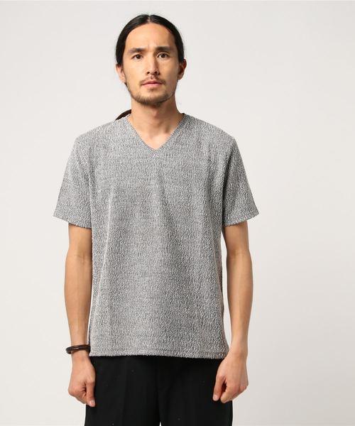 セマンティックデザイン / semantic design シャークツイードVネック半袖Tシャツ(白・黒・グレー)