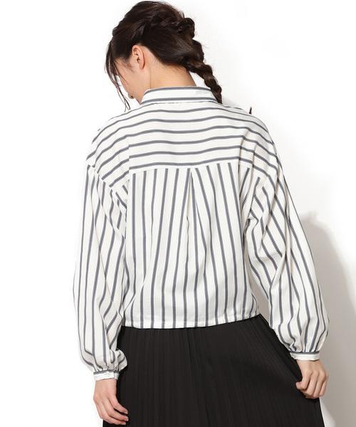 ストライプ柄裾絞り長袖シャツ