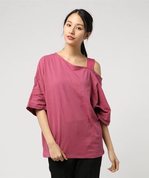 【LIEN】肩ストラップ4分袖Tシャツ