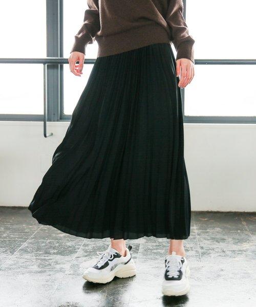 niko and...(ニコアンド)の「シフォン無地プリーツスカート(スカート)」|ブラック