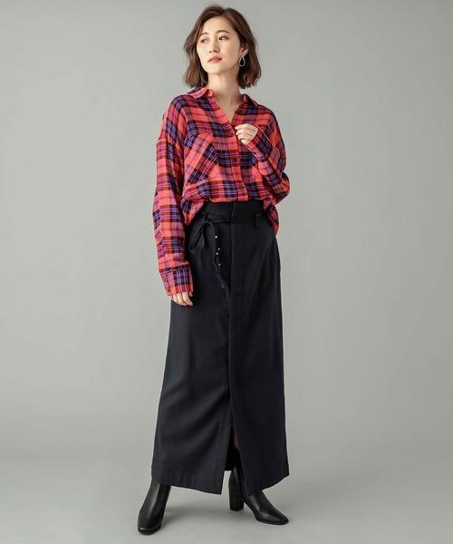 [RIVE DROITE] 冬の重ね着にもおすすめ ビッグチェックリラックスシャツ (レギュラーカラー)