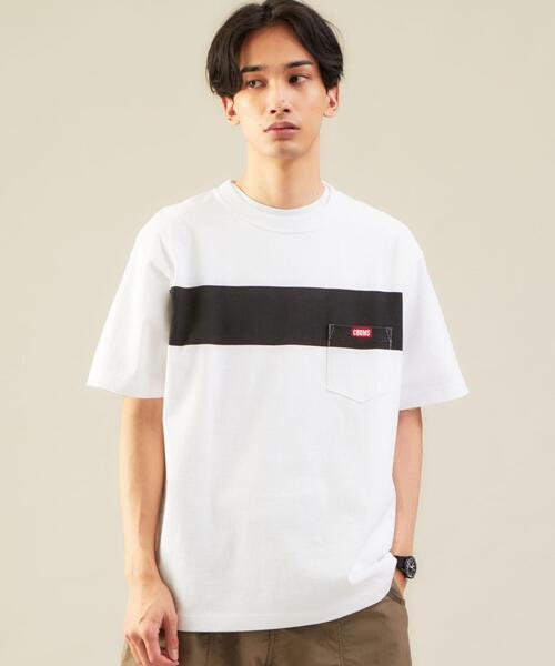 別注 [ チャムス ] CHUMS GLR ライン ポケット Tシャツ ポケT カットソー