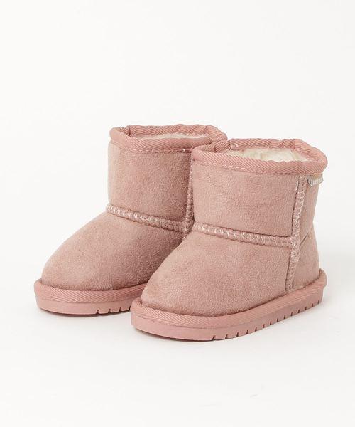 petit main(プティマイン)の「3カラームートンブーツ(ブーツ)」|ライトピンク