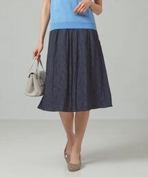 <closet story>□フラワージャガード ギャザースカート -手洗い可能-