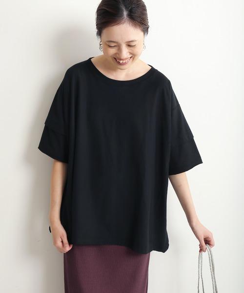 SLOBE IENA(スローブイエナ)の「レイヤード天竺TEE【手洗い可能】◆(Tシャツ/カットソー)」|ブラック