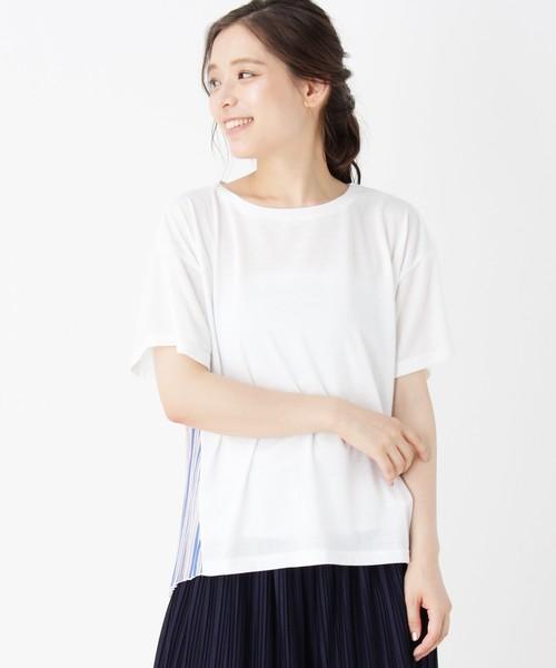 バックプリーツ異素材ミックスTシャツ