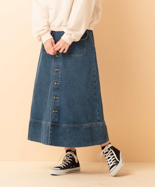 Wポケ付フレアロングスカート