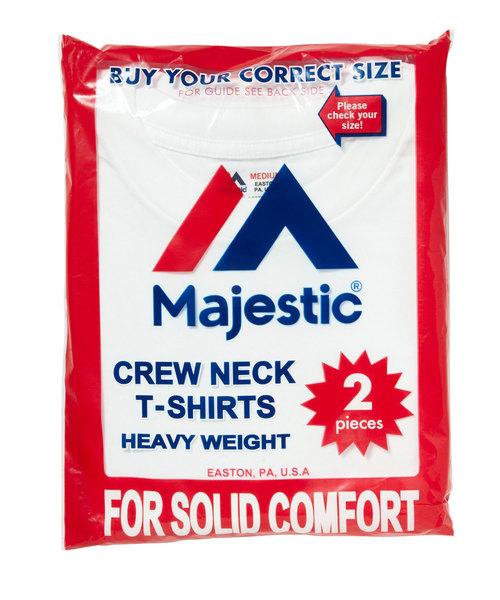 MAJESTIC(マジェスティック)の「マジェスティック パックTシャツ 2枚組(クルーネック)(Tシャツ/カットソー)」|ホワイト