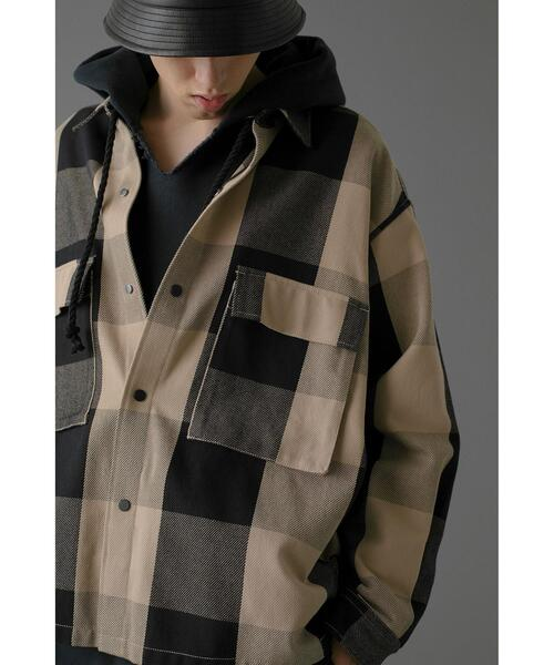 <monkey time> BLOCK CHECK CROPPED CPO/クロップドシャツ