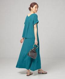 【予約】【WEB限定】<closet story>★★□バックVカットソー&スカート セットアップ -手洗い可能-