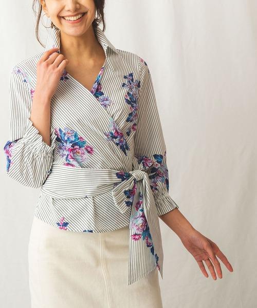 【受注生産品】 【セール】ストライプ&フラワープリントカシュクールシャツ(シャツ/ブラウス)|NARACAMICIE(ナラカミーチェ)のファッション通販, 街着屋 きもの遊び:0613d6ff --- svarogday.com