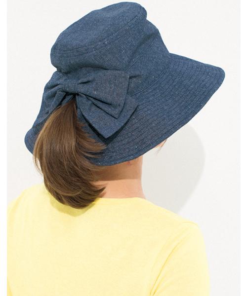 Live in comfort(リブインコンフォート)の「リブ イン コンフォート 髪の毛を結んだままかぶれる!つば広UVカット帽子    (ハット)」 ブルー